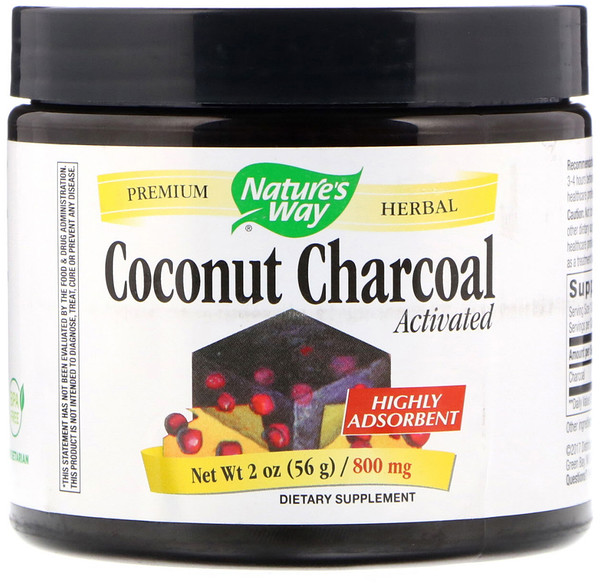 Nature's Way, Coconut Charcoal, Activated, 800 mg, 2 oz (56 g) (Discontinued Item)