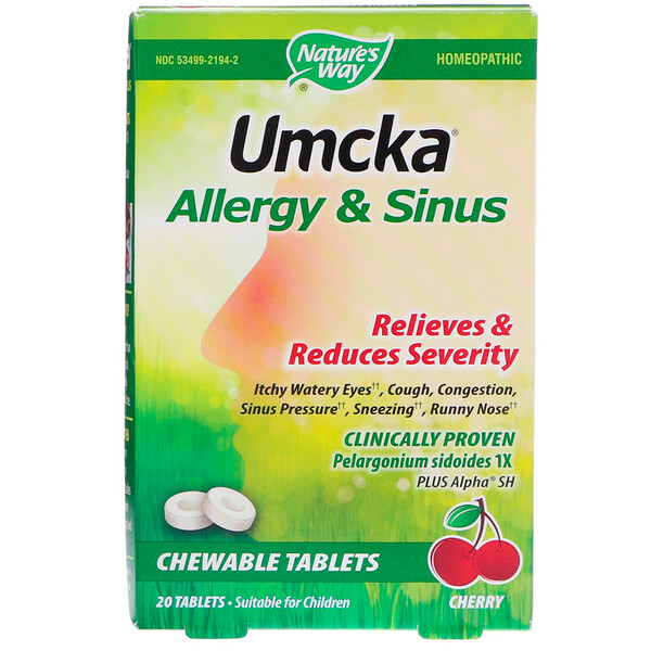 Nature's Way, Umcka, Allergy & Sinus, Cherry, 20 Tablets