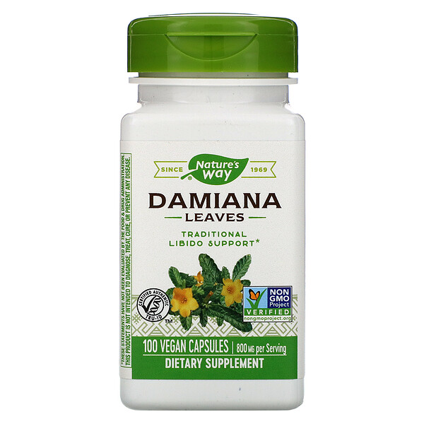 Nature's Way, Damiana Leaves, 800 mg, 100 Vegan Capsules