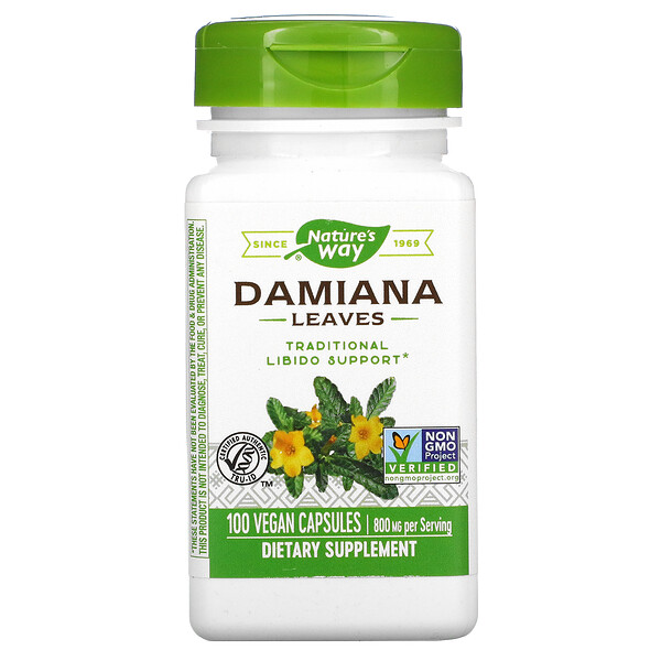 Damiana Leaves, 800 mg, 100 Vegan Capsules
