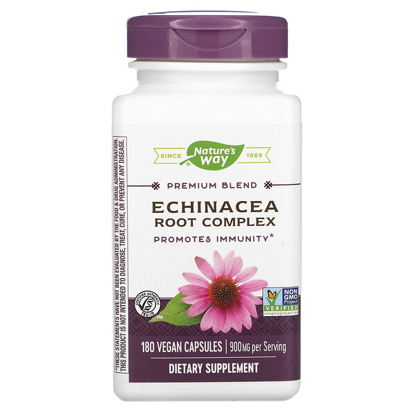 Nature's Way, Premium Blend Echinacea Root Complex, 900 mg, 180 Vegan Capsules
