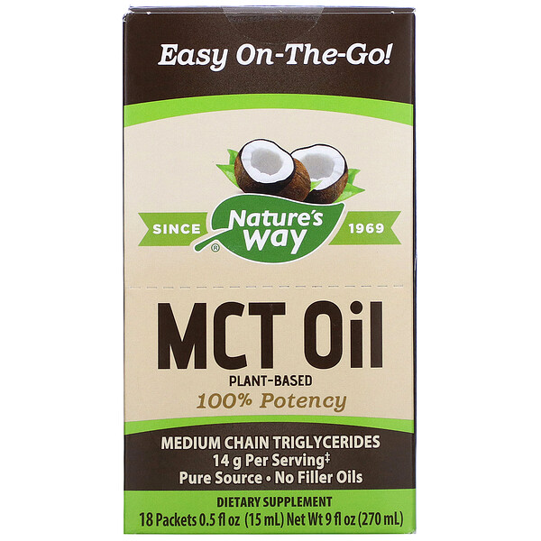 Nature's Way, Aceite MCT, 18 paquetes, 0.5 fl oz (15 ml) c/u