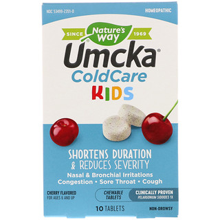 Nature's Way, Umcka, ColdCare Kids, Cherry Flavored, 10 Chewable Tablets