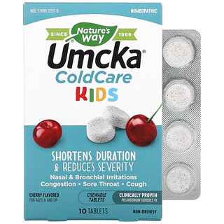 Nature's Way, Umcka, ColdCare Kids, For Ages 6 and Up, Cherry , 10  Chewable Tablets