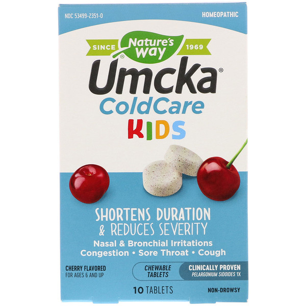 Umcka, ColdCare Kids,  For Ages 6 and Up, Cherry Flavored, 10 Chewable Tablets