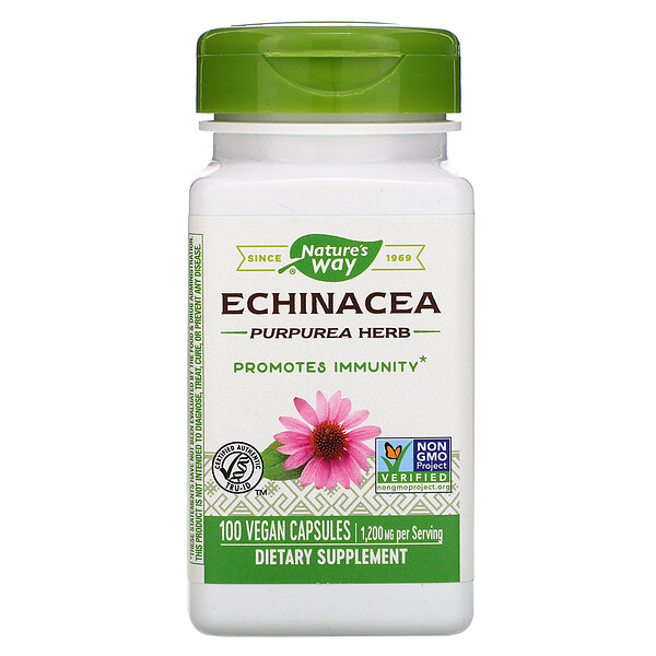 Nature's Way, Echinacea Purpurea Herb, 1,200 mg, 100 Vegan Capsules