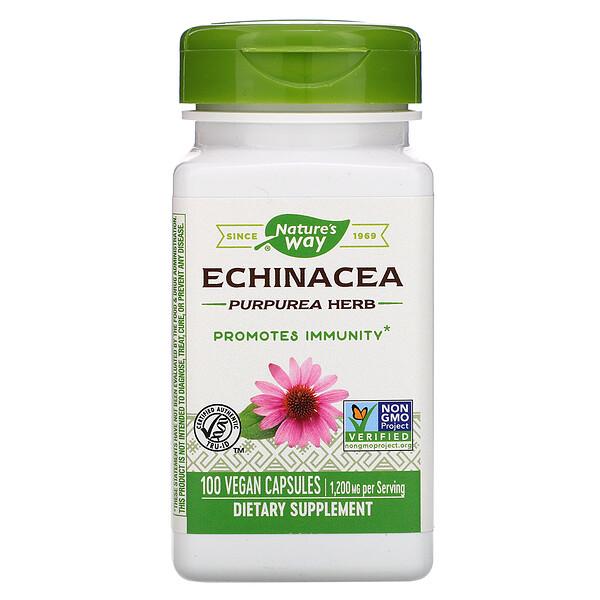 Echinacea Purpurea Herb, 1,200 mg, 100 Vegan Capsules