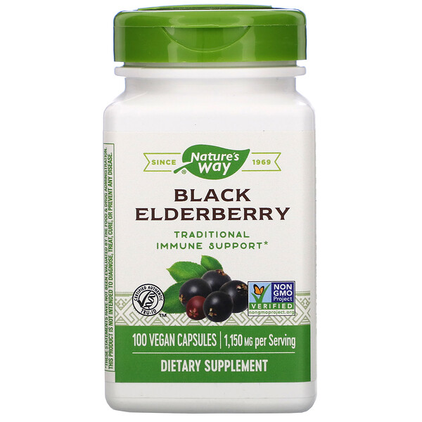 Black Elderberry, 1,150 mg, 100 Vegan Capsules