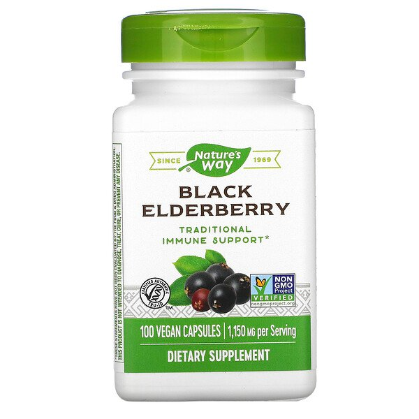 Nature's Way, Black Elderberry, 1,150 mg, 100 Vegan Capsules