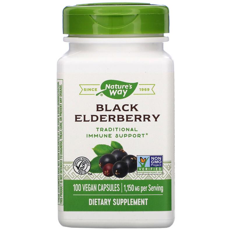Nature's Way, Black Elderberry, 1,150 mg, 100 Vegan Capsules