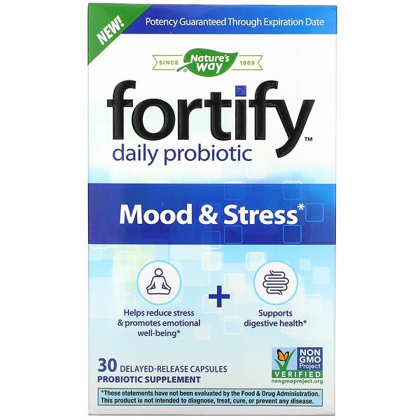 Nature's Way, Fortify, probiótico diario, estado de ánimo y estrés, 30 cápsulas de liberación prolongada (Discontinued Item)