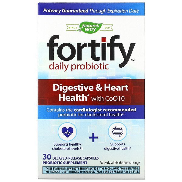 Nature's Way, Fortify, Daily Probiotic, Digestive & Heart Health with CoQ10, 30 Delayed-Release Capsules (Discontinued Item)