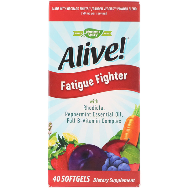 Nature's Way, Alive!, Combate a Fadiga, 40 Cápsulas Gelatinosas (Discontinued Item)