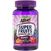 Alive! Super Fruits Complete Multi, комплекс витаминов для женщин, гранат и ягоды, 60жевательных таблеток - фото