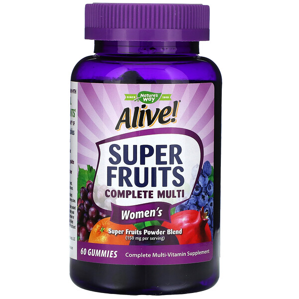 Nature's Way, Alive! Super Fruits Complete Multi, Women's, Pomegranate Berry, 60 Gummies (Discontinued Item)