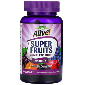 Натурес Вэй, Alive! Super Fruits Complete Multi, Women's, Pomegranate Berry, 60 Gummies отзывы покупателей