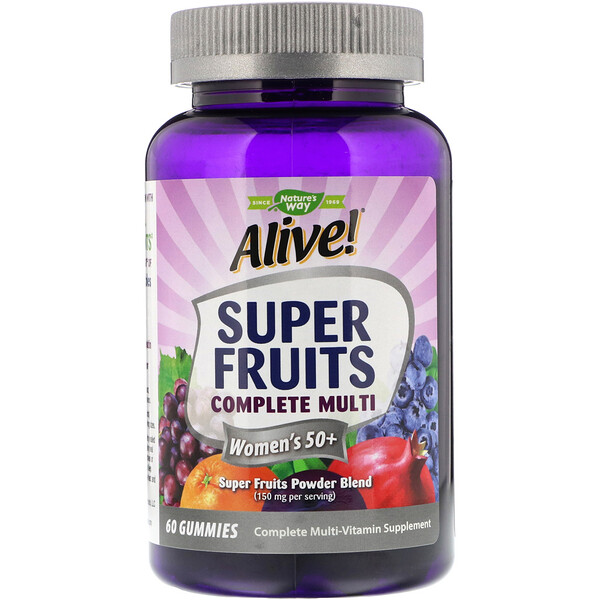 Nature's Way, Alive! Super Fruits Complete Multi, Women's 50+, Pomegranate Berry, 60 Gummies