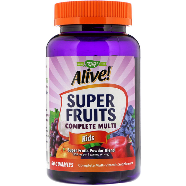 Alive! Super Fruits Complete Multi, Kids, Pomegranate Cherry Flavor, 60 Gummies