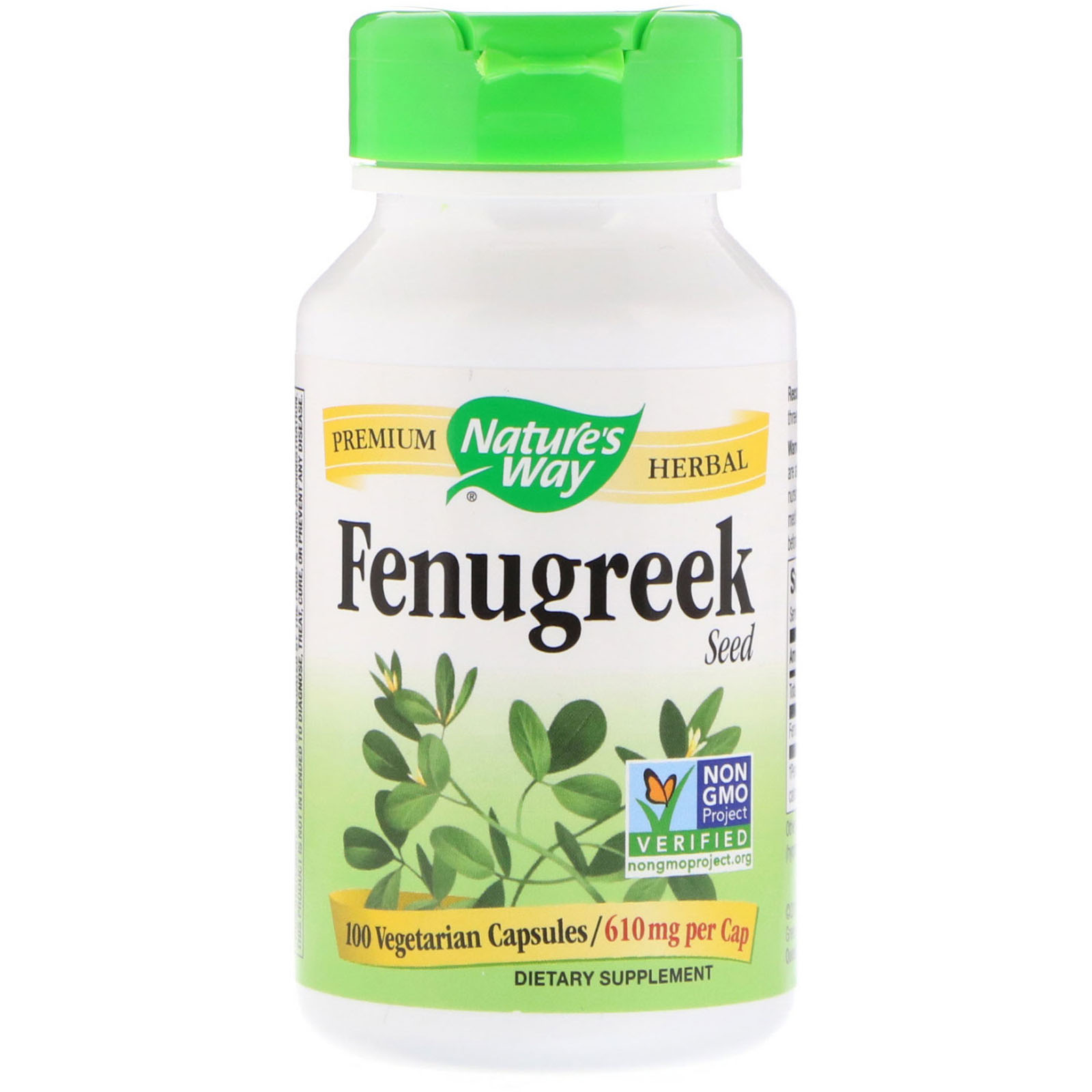 Nature's Way, Fenugreek Seed, 610 mg, 100 Vegetarian Capsules - iHerb.com
