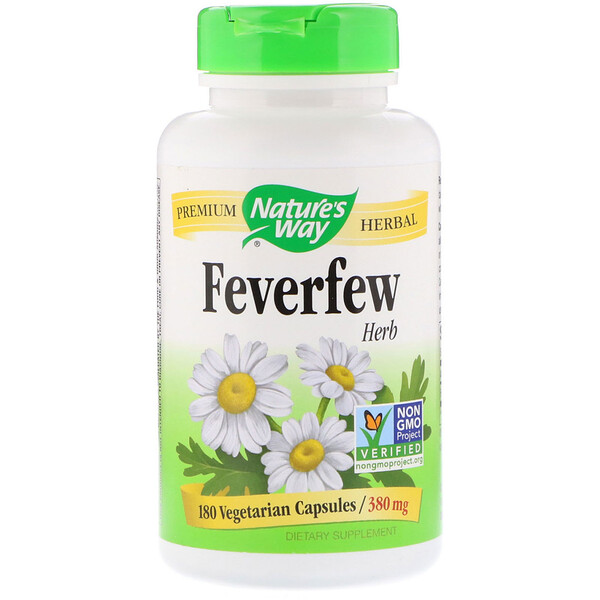 Feverfew Herb, 380 mg, 180 Vegetarian Capsules