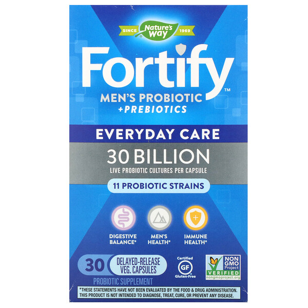 Fortify, Men's Probiotic + Prebiotics, Everyday Care, 30 Billion, 30 Delayed-Release Veg. Capsules