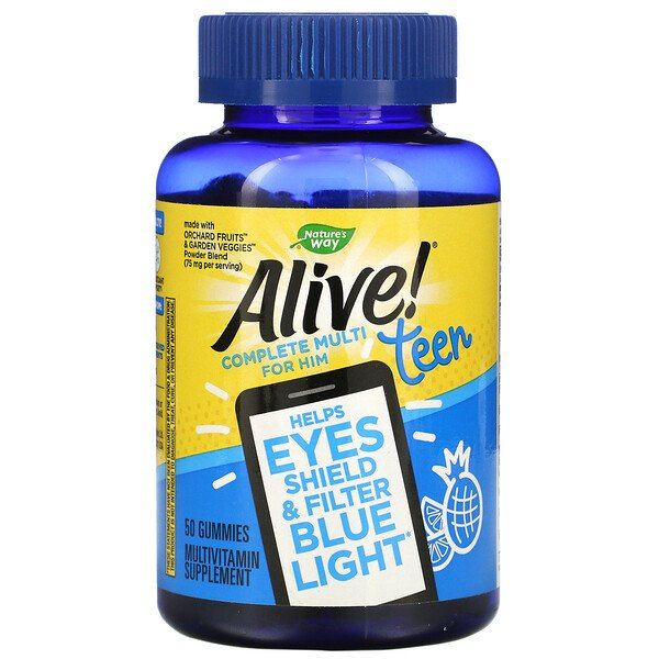 Nature's Way, Alive! Teen Multi for Him, 50 Gummies