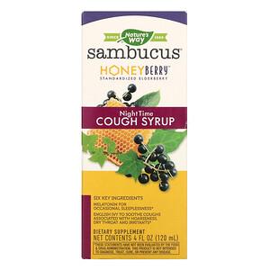 Nature's Way, Sambucus, HoneyBerry NightTime Cough Syrup, 4 fl oz (120 ml)