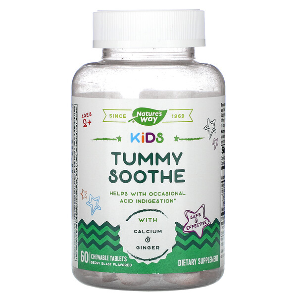 Kids, Tummy Soothe, Ages 2+, Berry Blast, 60 Chewable Tablets