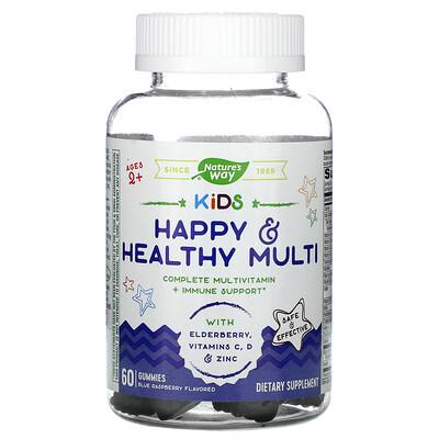Nature's Way Kids, Happy & Healthy Muliti, Ages 2 +, Blue Raspberry, 60 Gummies