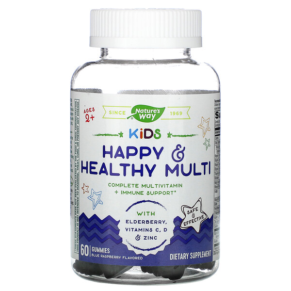 Kids, Happy & Healthy Muliti, Ages 2 +, Blue Raspberry, 60 Gummies