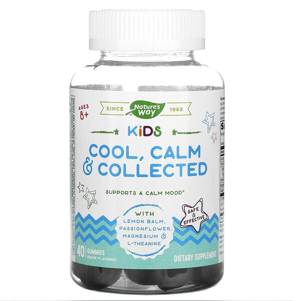 Kids, Cool, Calm&Collected, успокаивающее средство для детей старше 8лет, виноградный вкус, 40жевательных конфет