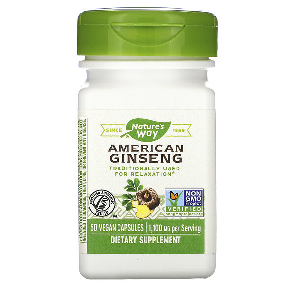 Nature's Way, American Ginseng, 1,100 mg, 50 Vegan Capsules
