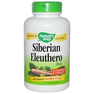 Nature's Way, Siberian Eleuthero, Root, 425 mg, 180 Capsules