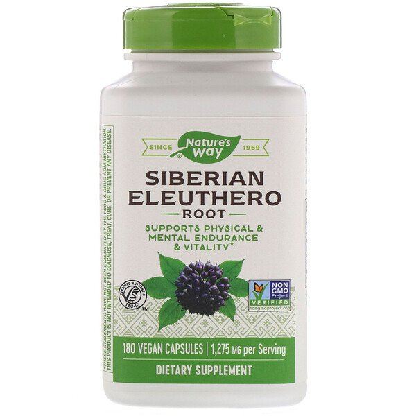 Nature's Way, Siberian Eleuthero, Root, 1,275 mg, 180 Vegan Capsules