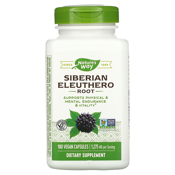 Nature's Way, Siberian Eleuthero, Root, 1,275 mg, 180 Vegan Capsules