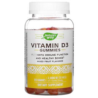 Nature's Way, Vitamin D3 Gummies, Mixed Fruit, 50 mcg (2,000 IU), 120 Gummies