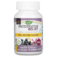 Nature's Way, Sambucus Relief, Immune Support, For Kids, Ages 2+, Berry, 36 Chewable Tablets