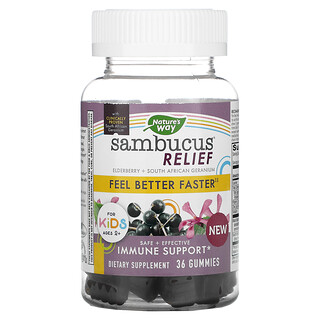 Nature's Way, Sambucus Relief, Immune Support, For Kids, 2+, Elderberry + South African Geranium, 36 Gummies