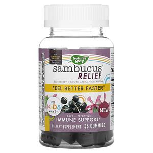 Nature's Way, Sambucus Relief, Immune Support, For Kids, 2+, Elderberry + South African Geranium, 36 Gummies'