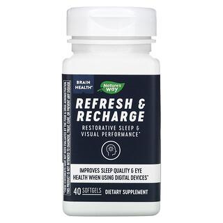 Nature's Way, Refresh & Recharge, добавка для поддержки мозга, восстановления и пополнения запасов энергии, 40капсул