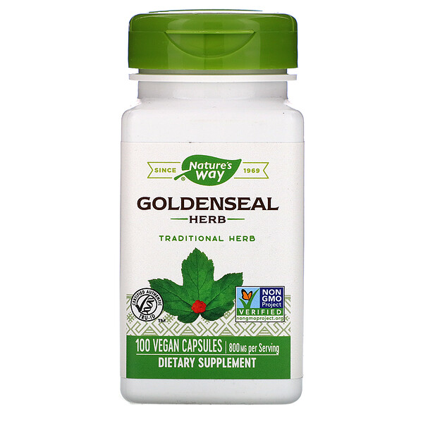 Nature's Way, Goldenseal Herb, 800 mg, 100 Vegan Capsules