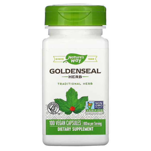 Goldenseal Herb, 800 mg, 100 Vegan Capsules