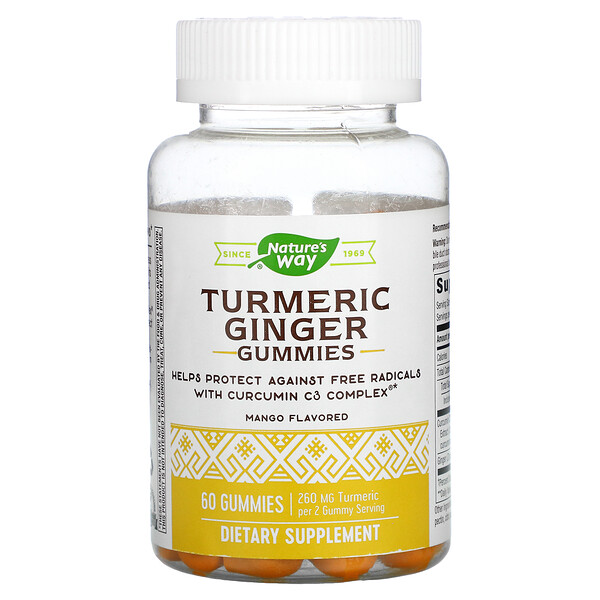 Turmeric Ginger Gummies, Mango, 130 mg, 60 Gummies