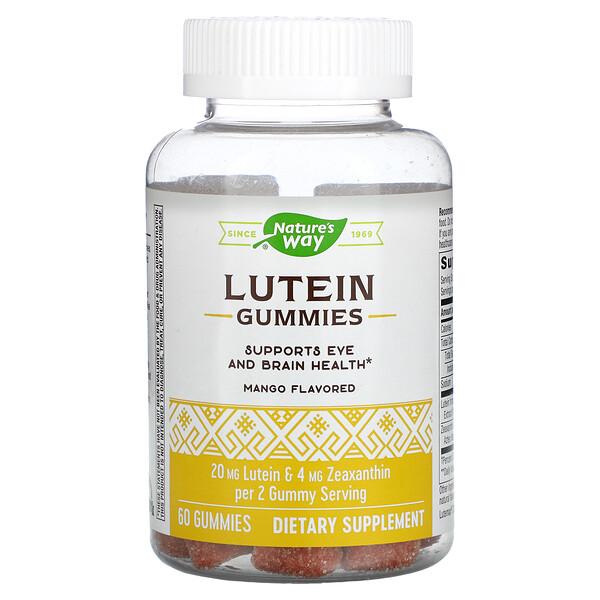 Lutein Gummies, Supports Eye And Brain Health, Mango, 60 Gummies