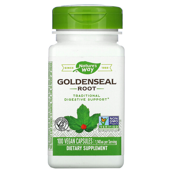 Goldenseal Root, 1,140 mg, 100 Vegan Capsules