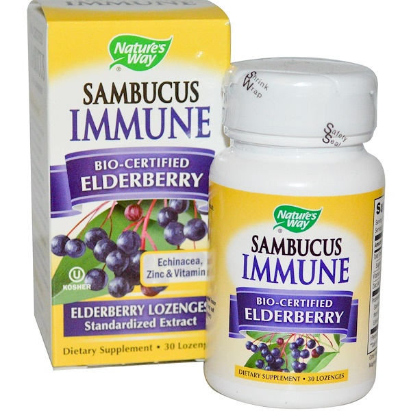 Nature's Way, Sambucus Immune, Bio-Certified Elderberry Lozenges, 30 Lozenges