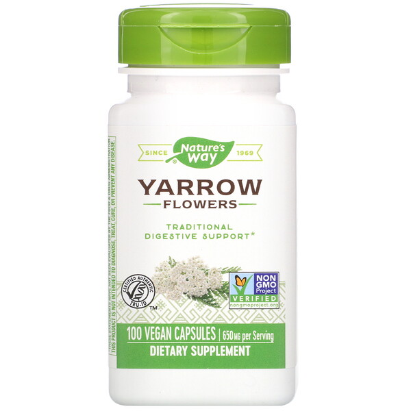 Nature's Way, Yarrow Flowers, 650 mg, 100 Vegan Capsules