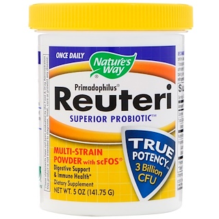 Nature's Way, Primadophilus, Reuteri Superior Probiotic, Multi-Strain Powder + scFOS, 5 oz (141.75 g)