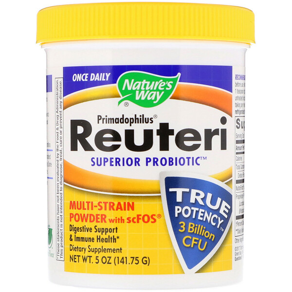 Nature's Way, Primadophilus、Reuteri Superior Probiotic、マルチ-菌株パウダー + scFOS、5oz (141.75 g)