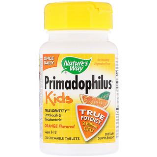 Nature's Way, Primadophilus, Kids, Orange, 3 Billion CFU, 30 Chewable Tablets